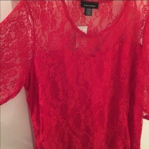 Ashley Stewart Red Lace Top